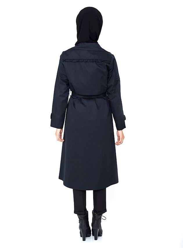 Women's Light Navy Blue Buttoned Trench Coat Hijab Rain Coat