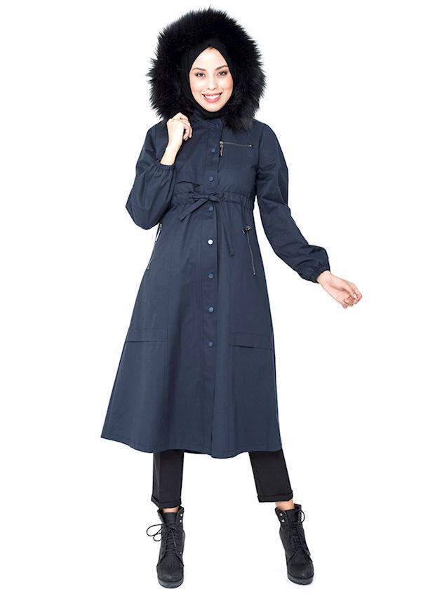 Women's Light Navy Blue Hooded Trench Coat with Hidden Zipper for Hijab Rain Coat