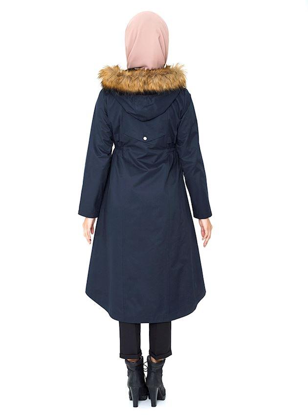 Women's Light Navy Blue Hooded Trench Coat with Hidden Zipper Hijab Rain Coat