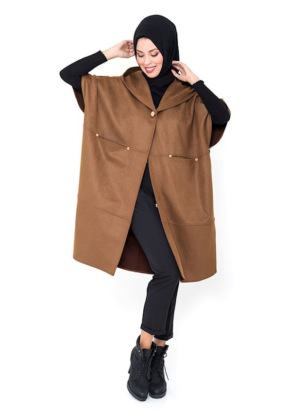 Women's Mink Cape with Wooden Buttons Poncho for Hijab