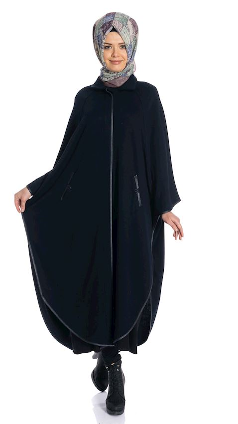 Women's Navy Blue Cape Winter Poncho for Hijab