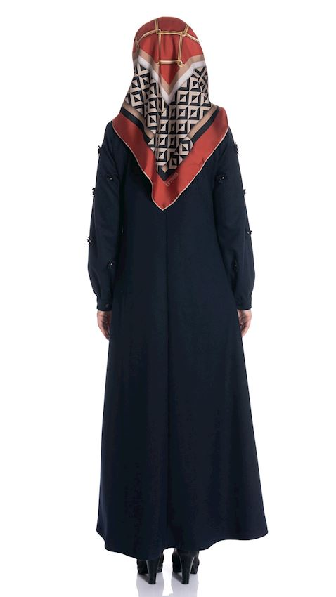 Women's Navy Blue Long Coat with Side Belt Winter Coat for Hijab