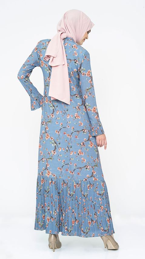 Women's Patterned and Pleated Blue Evening Dress Hijab Dress