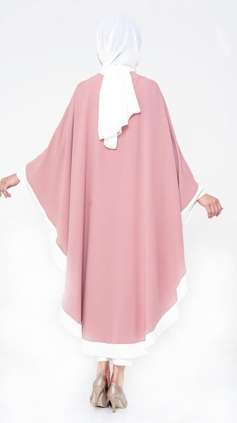 Women's Pink Long Coat with Batwing Sleeves Hijab Coat Ferace Faraja