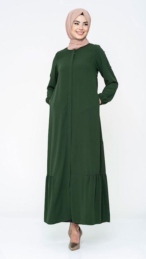 Women's Pleated Khaki Long Coat with Zipper Hijab Coat Ferace Faraja