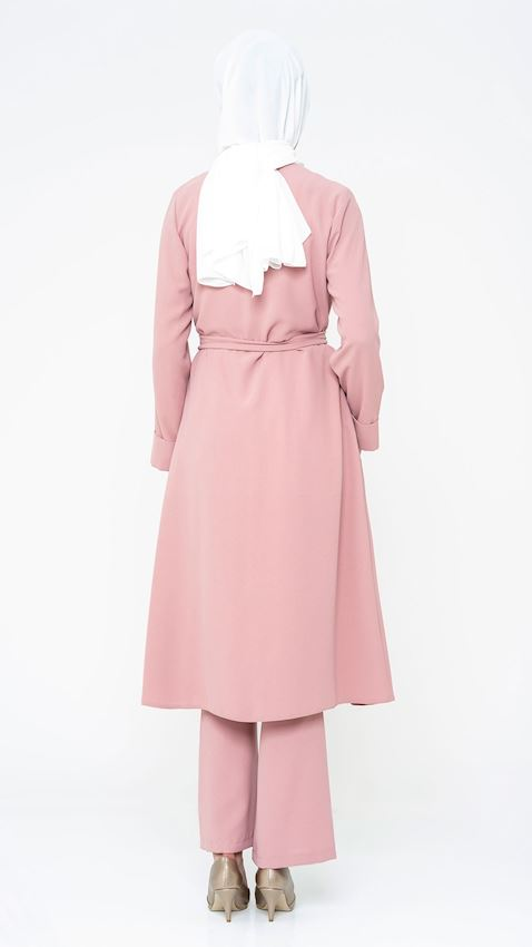 Women's Powder Pink Suit for Hijab with Pants, Belt, and Brooch Details
