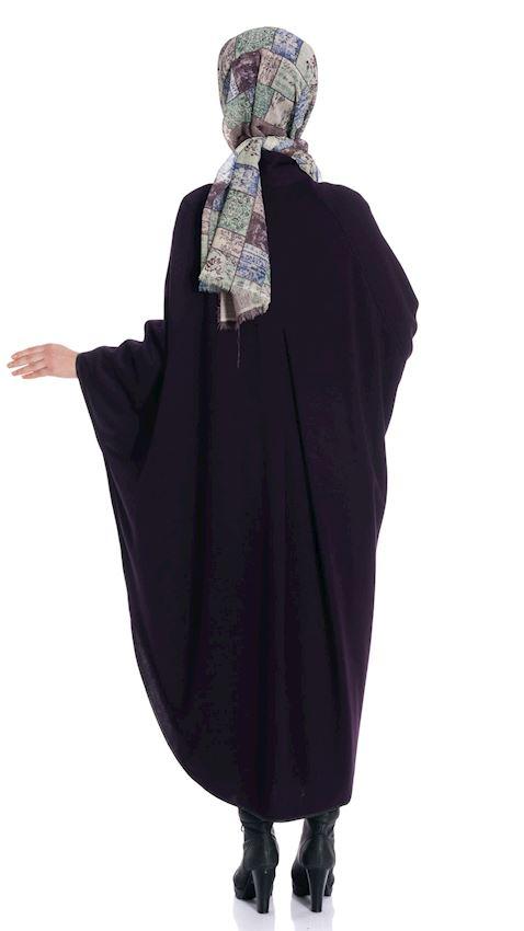 Women's Purple Cape Winter Poncho for Hijab