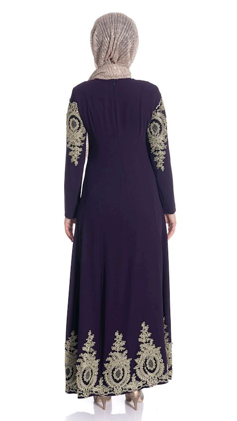Women's Purple Colored Evening Dress with Lace Hijab Dress Abaya