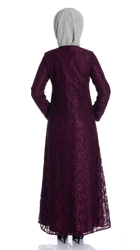 Women's Purple Long Coat with Buttons and Fine Lace Hijab Coat Ferace Faraja