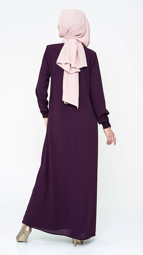 Women's Purple Long Coat with Zipper and Embroidered Collar Hijab Coat Ferace Faraja