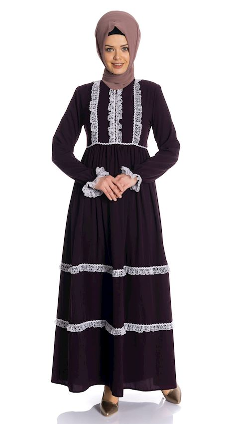 Women's Shirred Damson Evening Dress with Laces Hijab Dress