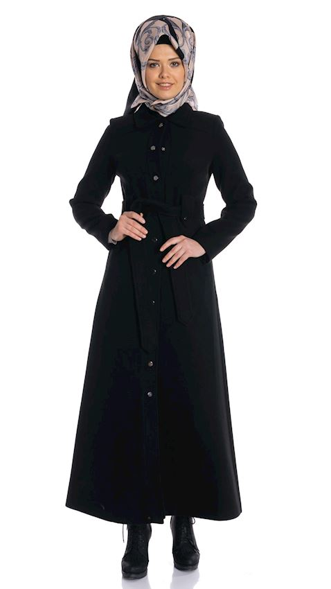 Women's Snapped Black Topcoat for Hijab