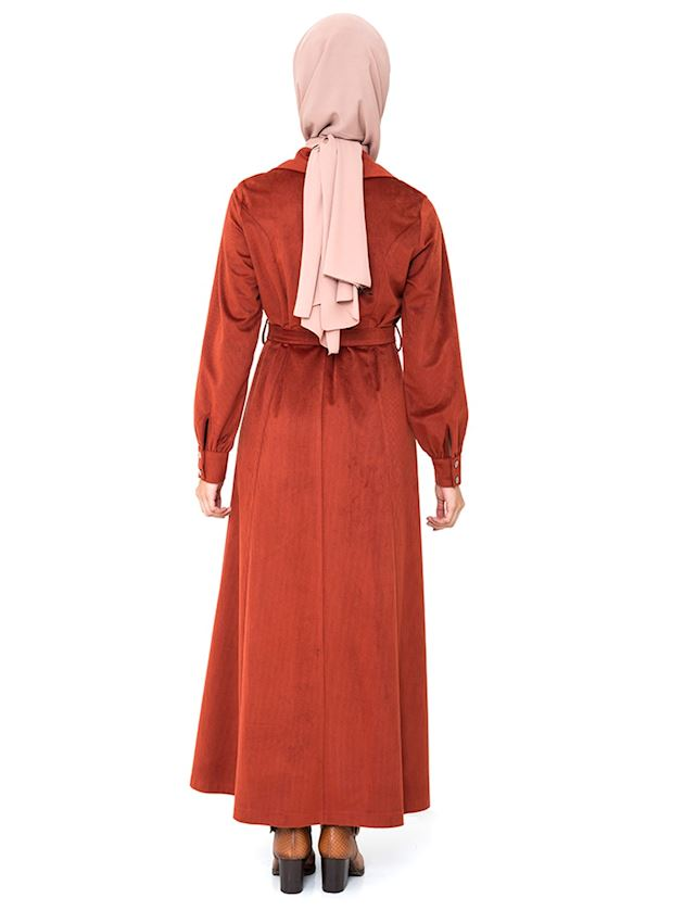 Women's Tile Red Long Coat with Snaps and Belt Winter Hijab Coat Ferace Faraja