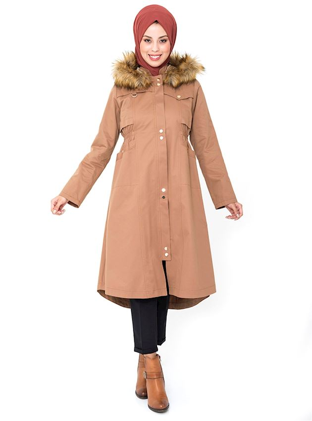 Women's Tobacco Brown Hooded Trench Coat with Snaps Hijab Rain Coat