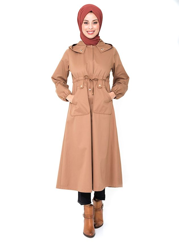 Women's Tobacco Brown Hooded Trench Coat with Hidden Zipper Hijab Rain Coat