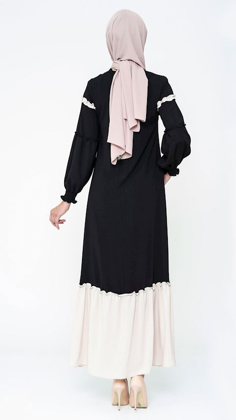 Women's Two Colored Black Evening Dress Hijab Dress Abaya