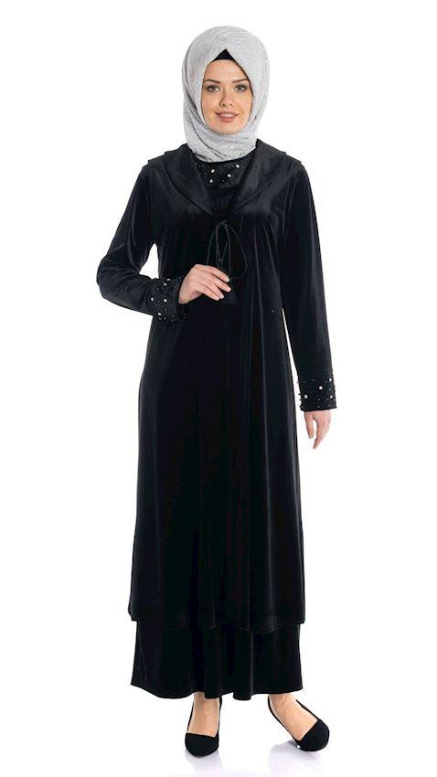 Women's Velvet Double Suit for Hijab