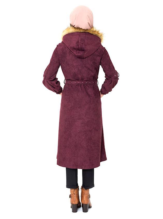 Women's Zipped Damson Winter Coat for Hijab