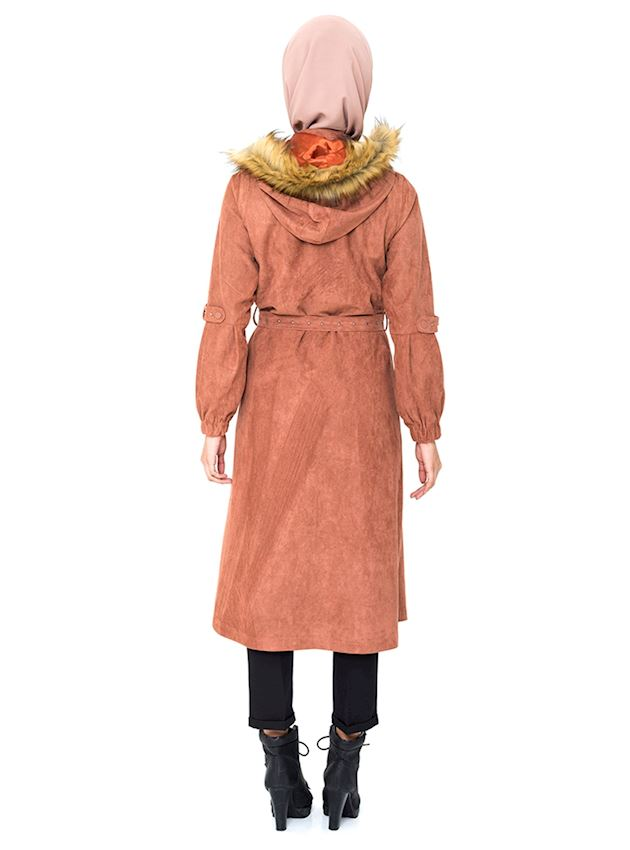 Women's Zippered Ginger Coat with Belt Winter Coat for Hijab