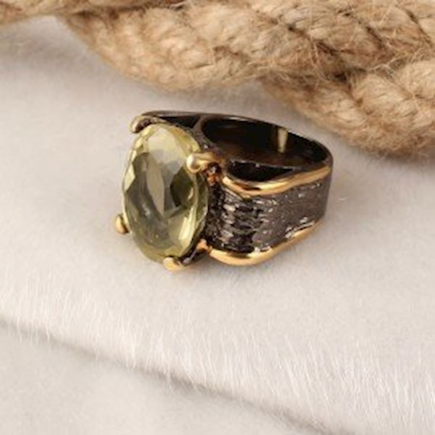 Yellow Topaz Handcrafted Women's Silver Ring