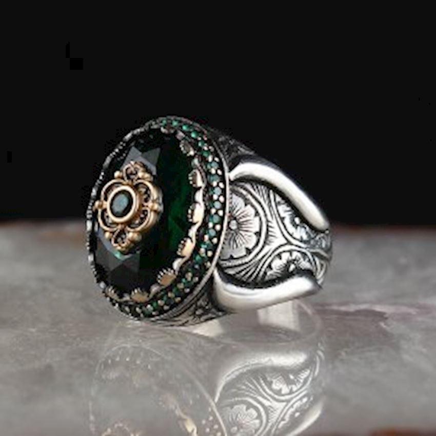 Zircon Men's Silver Ring with Pen Work