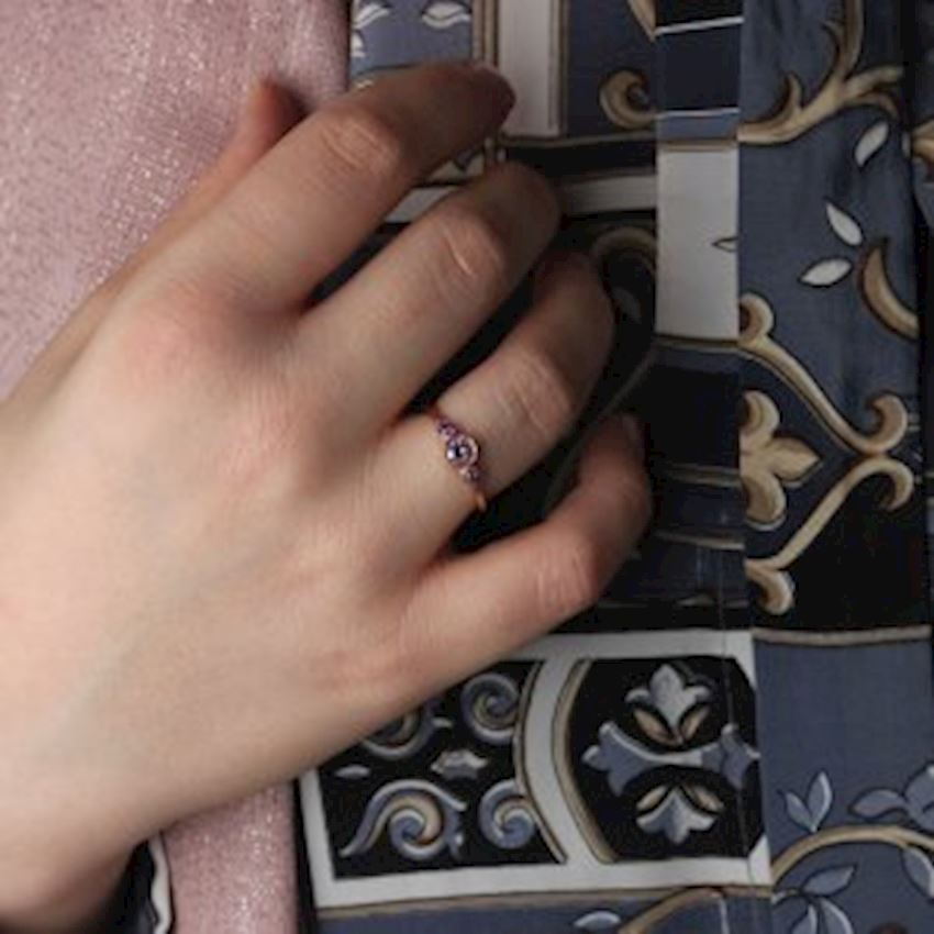 Zircon Rose Plated Silver Women Ring