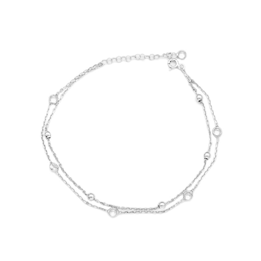 Zircon Stone Turkish Wholesale Handcrafted 925 Sterling Silver Anklet